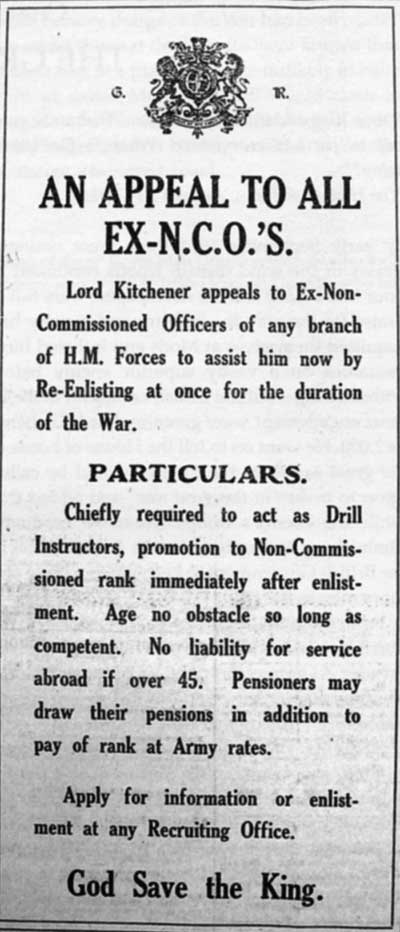 newspaper notice in WW1