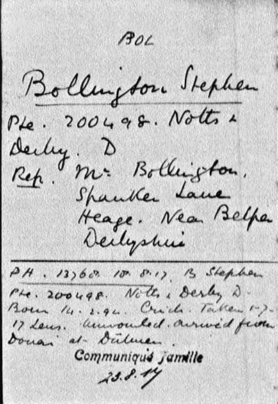 Stephen Bolington PoW card