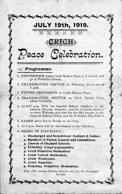 Poster for Crich Peace Celebration WW1