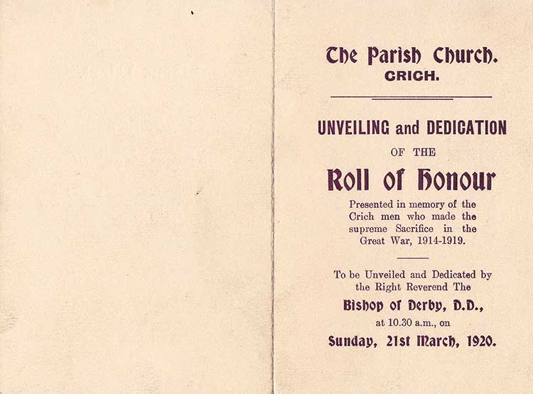 dedication of Roll of Honour at Crich 1920