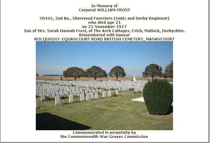 War Graves certificate for William Frost