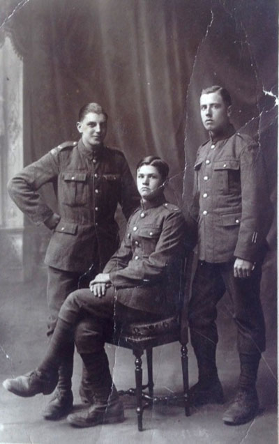 Sydney Harrison and two friends in WW1