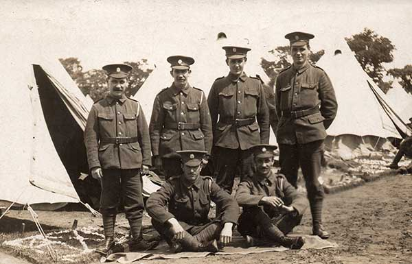 John William Heathcote with his unit in WW1