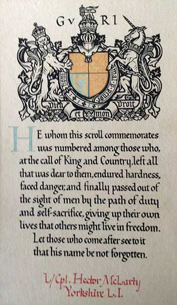 WW1memorial scroll for Hector McLarty