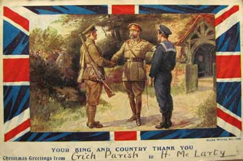 Card to Hector McLarty in WW1
