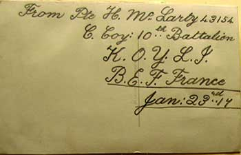 Card from Hector McLarty in WW1