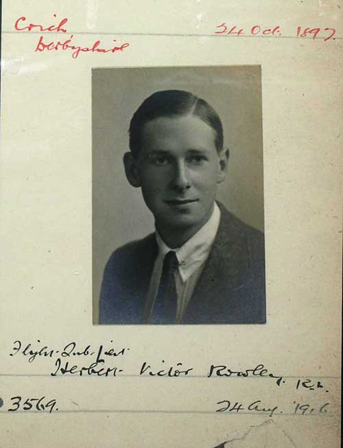 Record card for Herbert Rowley