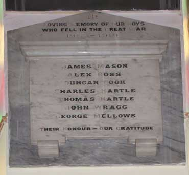 Memorial tablet in the Wesley Chapel Crich