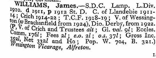 James Williams entry in Crockfords Directory 1932