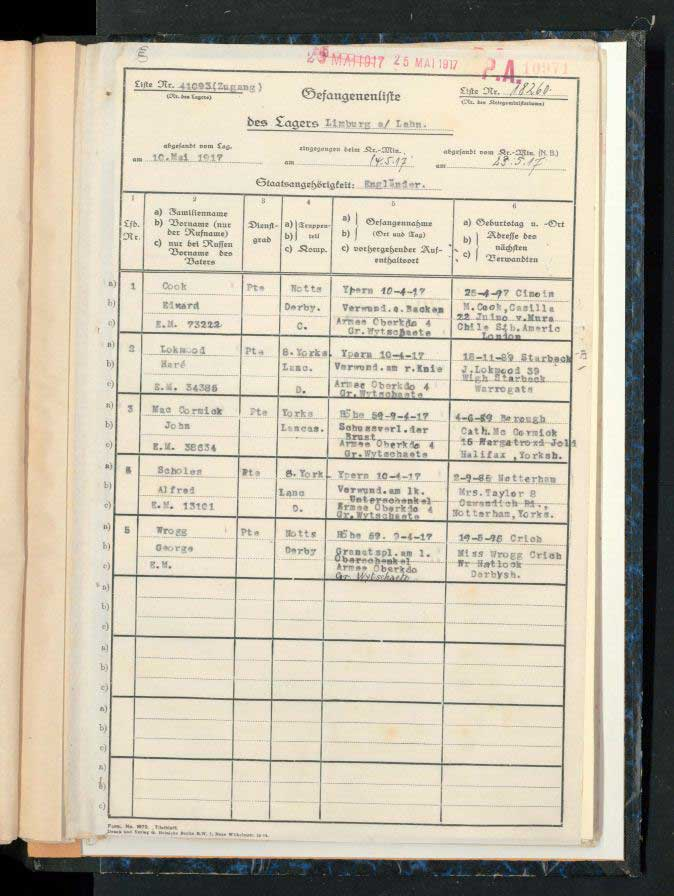 PoW record for George Wragg WW1